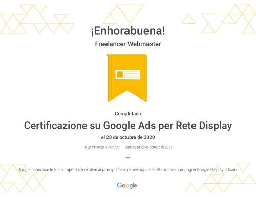 Freelancer webmaster certificado Google Ads