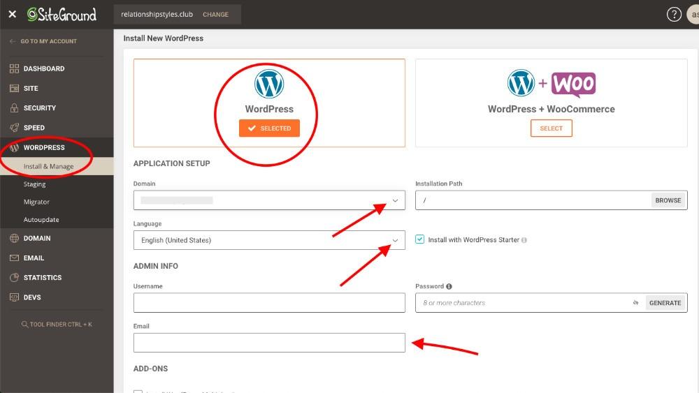 configurar Siteground